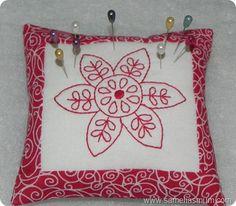 Redwork Pincushion {Tutorial}   giveaway