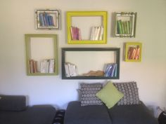 DIY bookshelves from old picture frames