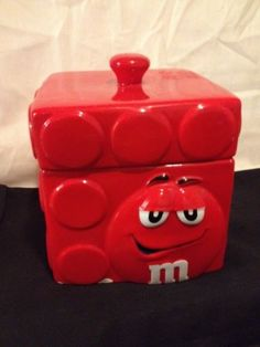 cc5e23026d6 M  amp  M s Square RED Ceramic Candy Cookie Yellow Collectible Ceramic Jar  Container M M