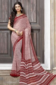 Stylish White And Red Georgette Saree With Georgette Blouse - DMV11967