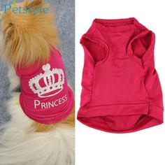 HOT! Fashion Pet Dog Cat Cute Princess T-shirt Clothes Vest Summer Coat Puggy Costumes Levert Dropship 3MAR22