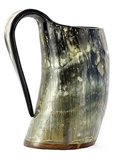 VIKING DRINKING HORN MUG - 20 Oz Handcrafted Ox Cup Goblet - Drink Mead & Beer Like Game of Thrones Heroes With This Large Ale Stein - Great Craftsmanship And Gift Box - A Perfect Present For Real Men