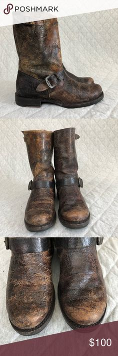 """Frye """"Veronica"""" Short Crackle Boot Adorable distressed brown leather boot! There is a lot of variation in the color of these boots and the leather is very worn looking. They were made that way and it really adds some character! These are in worn condition. Great quality boots!  Women's SIZE 8! Frye Shoes Combat & Moto Boots"""