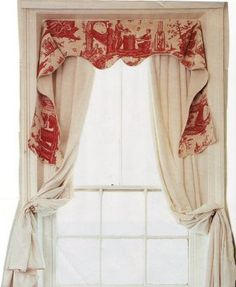 lovely old toile valance with linen