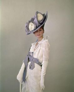 My Fair Lady (1964): Audrey Hepburn as Eliza Doolittle. Appears to be a publicity still / costume test.