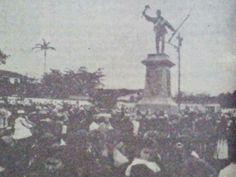 Develización de la estatua a Jyan Santamaría, 15 de setiembre de 1891. Alajuela, Costa Rica.