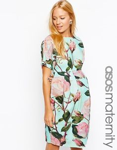 ASOS Maternity Wiggle Dress In Textured Floral