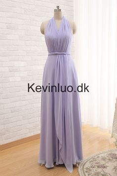 Lang Grime Lavendel Brudepigekjoler