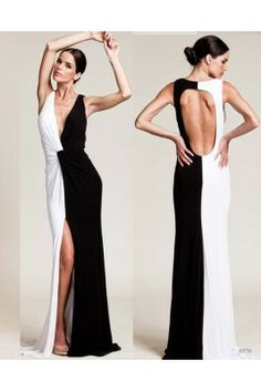 Black and White - Open Back Deep V Neck Gown With Twist
