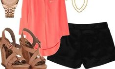 Coral shirt, black shorts, neutral shoes, simple earings and a simple watch = perfect outfit for a summer night ; Casual Outfits For Moms, Mom Outfits, Winter Outfits, Fashion Outfits, Womens Fashion, Fashion Trends, Spring Outfits, Fashion Inspiration, Camisa Coral