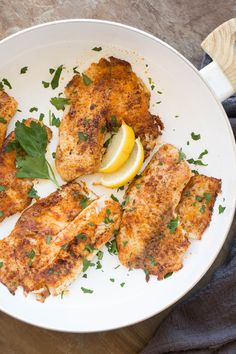Delicious blackened tilapia fish recipe made in under 10 minutes. The perfect he… Delicious blackened tilapia fish recipe made in under 10 minutes. The perfect healthy and light dinner recipe. Walleye Fish Recipes, Swordfish Recipes, Tilapia Recipes, Seafood Recipes, Cooking Recipes, Seafood Dishes, Crockpot Recipes, White Fish Recipes, Easy Fish Recipes