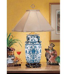 Wildwood Lamps Blue White With Dragons Table Lamp in Hand Painted Overglaze Porcelain 5221 photo