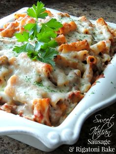 Our family loves this Sweet Italian Sausage & Rigatoni Bake! Easy family friendly recipe to make in about 30 minutes.