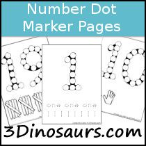 Here's a packet of 60+ number dot pages that includes number dot with tracing number and word, tally marks, and hands 0-20.
