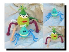 AMIGURUMI Spinnen  Ideal zur Verarbeitung von Wollresten . jeder hat diese zu Hause :-)