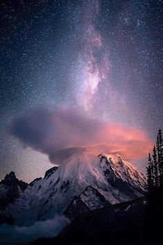 Lenticular clouds and the Milky Way.