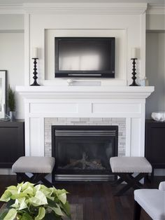 Eye-Opening Tricks: Fireplace And Mantels Cabinets fireplace illustration william morris.Tv Over Fireplace Stone gas fireplace remodel. Tv Over Fireplace, Simple Fireplace, Home Fireplace, Living Room With Fireplace, Fireplace Surrounds, Fireplace Design, Home Living Room, Living Room Decor, Fireplace Update