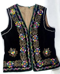 Vintage velvet embroided seed beads vest women by BlouseRoumaine