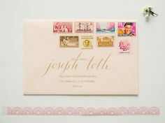 91c Pink & Beige Vintage Postage // enough postage for 10 envelopes weighing between 2 and 3 oz. each