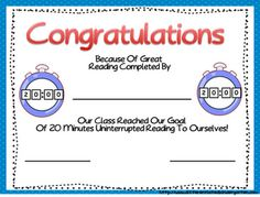 Certificate for meeting sustained self reading goal  A Differentiated Kindergarten