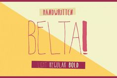 Belta Fonts Belta is a three weight decorative handwritten font, recommended for display usage or small amount by antipixel Best Free Script Fonts, Handwritten Fonts, Cool Fonts, New Fonts, Creative Fonts, Pretty Fonts, Beautiful Fonts, Fonts Gratis, Software Android