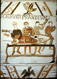 Detail of Bayeux Tapestry- The word above is 'prandium', the Latin word for lunch.