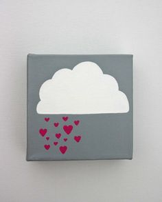 cut out a cloud  cut out pink hearts    wrap it in grey or blue wrapping paper and then stick on the cloud and hearts
