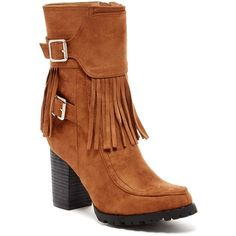 Bucco Jaxsyn Fringe Boot ($45) ❤ liked on Polyvore featuring shoes, boots, ankle booties, ankle boots, chestnut, high heel boots, fringe high heel boots, thick heel booties and strappy ankle boots