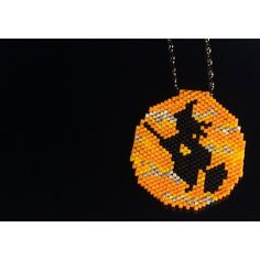 Halloween Pendant, Halloween Necklace, Halloween Gift, Peyote... ($34) ❤ liked on Polyvore featuring jewelry, pendants, beading jewelry, bead pendant, chains jewelry, bead jewellery and chain pendants