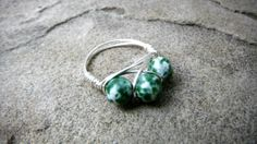 Green Agate Ring Wire Wrapped Ring Cluster Ring by CaravanOfBeads, $18.00
