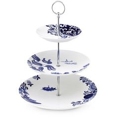 Loveramics Willow Love Story three-tier cake stand ($50) ❤ liked on Polyvore featuring home, kitchen & dining, serveware, three tier cake stands, three tier cake stand, three shelf, 3 tier cake stand and 3 shelves