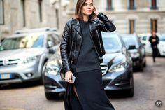 Maria Dueñas Jacobs on a street style photo taken during Milan Fashion Week AW15