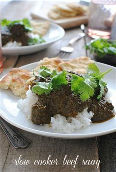 Slow cooker beef saag--but i may just do paneer and use this recipe for the spinach