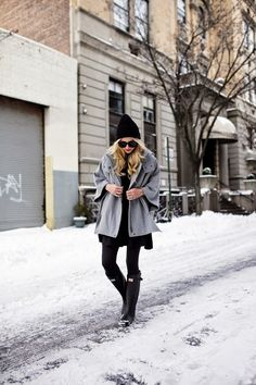 Jacket: DKNY (similar). Poncho: Theory (similar here and here). Skirt: Topshop. Boots: Hunter....