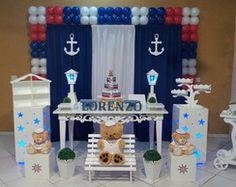 Decoração de Chá de Bebê Urso Marinheiro                                                                                                                                                                                 Mais