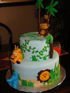 The Sweetest Tiers: Jungle Theme baby shower cake