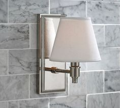 Hayden Single Shade Sconce | Pottery Barn - front entry sconce in stairwell and in hall between Living and Dining Room