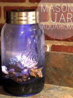 DIY Mason Jar Aquarium | 26 DIY Mason Jar Crafts You Can Make In Under an Hour at http://DIY Projects/com/mason-jar-crafts-in-under-an-hour
