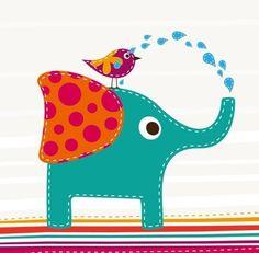 Free Cartoon Elephant and Bird Vector Illustration - TitanUI