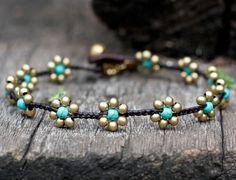 Bracelet de cheville en laiton fleur turquoise par brasslady