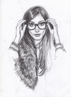 girl in fur with glasses sketch