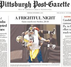 Will Smith goes flying on the front page of the Pittsburgh Post-Gazette on Nov. 1, 2010