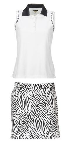 a0afe229 Safari Greg Norman Ladies White & Navy Zebra Animal Print Golf Outfit  at #lorisgolfshoppe