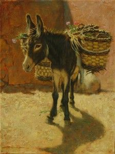Dan Bodelson, Sold Out, oil, 12 x - Southwest Art Magazine Farm Animals, Animals And Pets, Cute Animals, Farm Paintings, Animal Paintings, Beautiful Horses, Animals Beautiful, Miniature Donkey, Southwest Art
