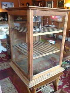 ANTIQUE SCHWANBECK BROS WOOD GLASS PIE SAFE BAKERY COOLING RACK DISPLAY CABINET in Antiques, Furniture, Cabinets & Cupboards, 1800-1899 | eBay