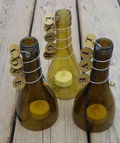 candle holder from wine bottle Reuse Bottles, Recycled Wine Bottles, Bottles And Jars, Glass Bottles, Wine Bottle Candle Holder, Wine Bottle Corks, Glass Bottle Crafts, Wine Decor, Painted Wine Glasses