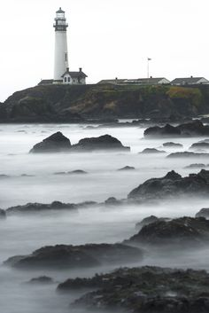 Pigeon Port Lighthouse Stormy Day / Pescadero, California (by Mike Mezeul II Photography)
