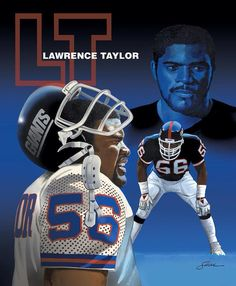 Lawrence Taylor Painting by Harold Shull - Lawrence Taylor Fine Art Prints and Posters for Sale New York Giants Football, Steelers Football, Football Helmets, Football Stuff, Football Players, Beast Of The East, Lawrence Taylor, Nba, Nfl History
