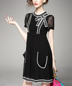 Look at this #zulilyfind! Alaroo Black Bow Pocket Empire-Waist Dress by Alaroo #zulilyfinds