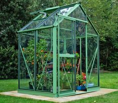 Evika Greenhouse Pale Green 6 x 4 ft 6x4 Greenhouse, Shed Windows, Louvre Windows, Garden Site, Powder Coat Colors, Roof Vents, Green Powder, Shop Fittings, Garden Fencing